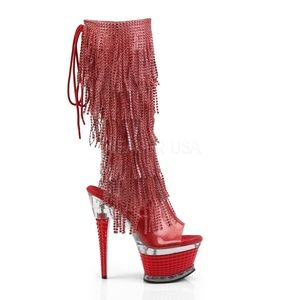 NIB Red Open Toe Open Heel Back Lace-Up Knee High